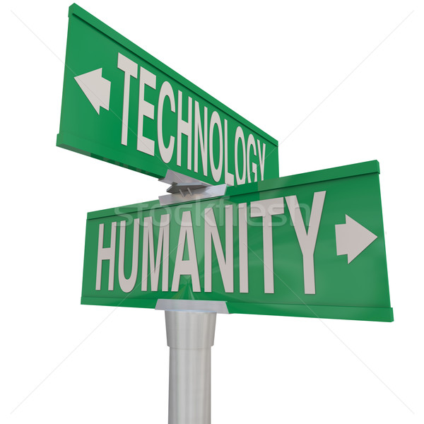 Intersection of Technology and Humanity Modern Digital Age Vs Na Stock photo © iqoncept