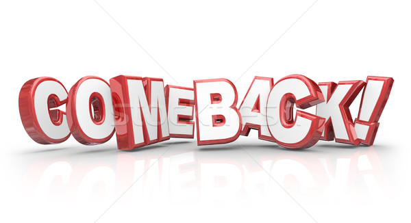 Comeback Word Red 3d Letters Bounce Back Rebound Triumphant Retu Stock photo © iqoncept