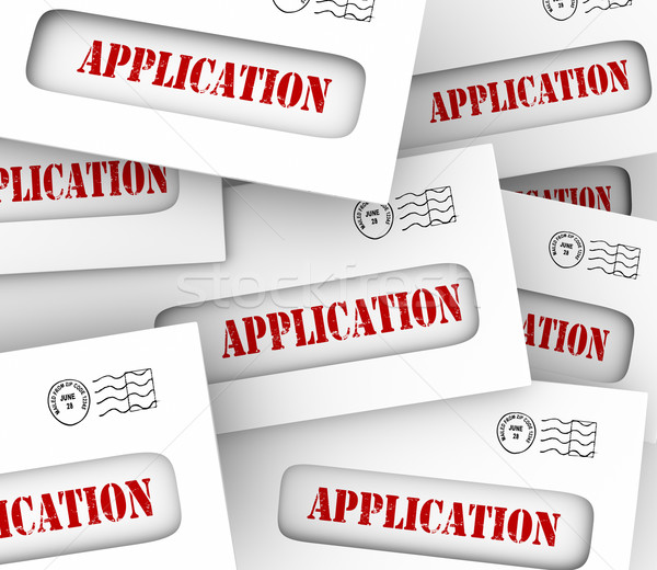 Application Word Envelopes Many Candidates Apply Job Loan Letter Stock photo © iqoncept
