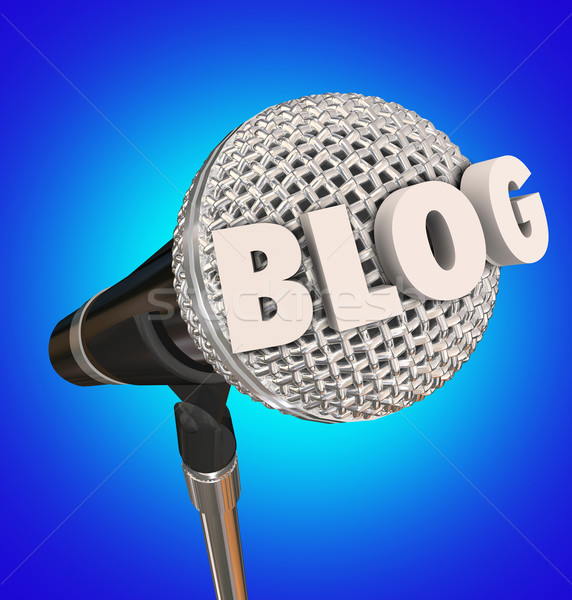 Blog Microphone Word Interview Audio Report Program Stock photo © iqoncept