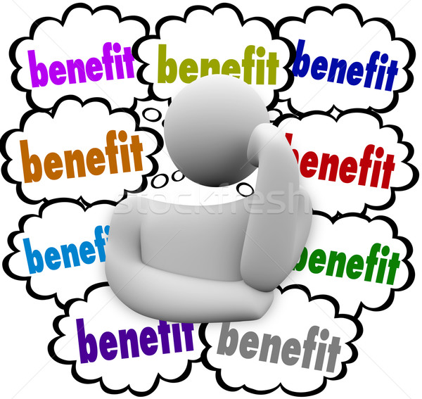 Benefit Thought Clouds Incentives Thinker Competitive Best Advan Stock photo © iqoncept