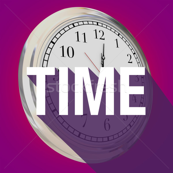 Time Word Clock Long Shadow Passing Moments Now Future Stock photo © iqoncept