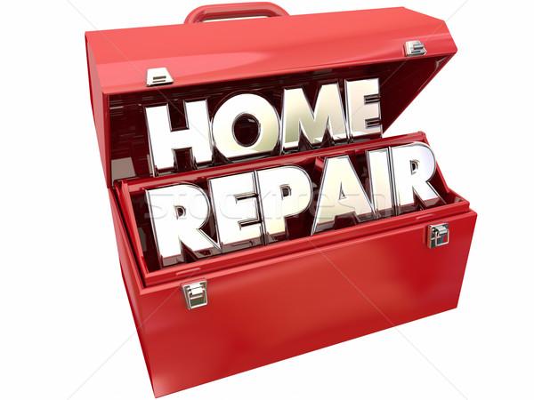 Home Repair Fix Improvement Red Metal Toolbox 3d Words Stock photo © iqoncept
