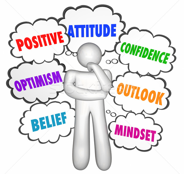 Positive Thinking Thought Clouds Thinker Good Attitude Confidenc Stock photo © iqoncept