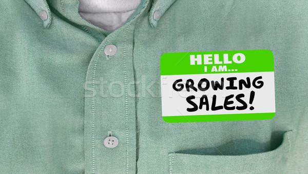Crescita vendite successo targhetta adesivo Foto d'archivio © iqoncept