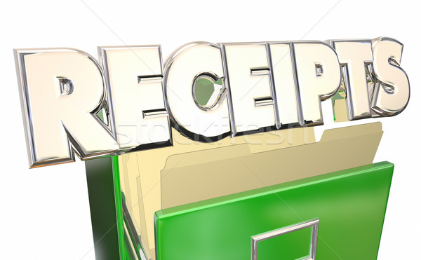 Receipts 3d Word File Cabinet Expense Report Purchases Proof Stock photo © iqoncept