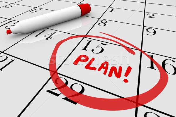 Plan Strategy Start Begin Mission Calendar Day Date 3d Illustrat Stock photo © iqoncept