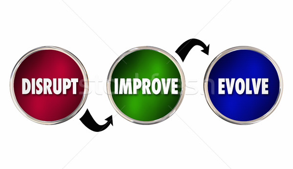 Disrupt Improve Evolve Cycle Process Change Innovate 3d Illustra Stock photo © iqoncept