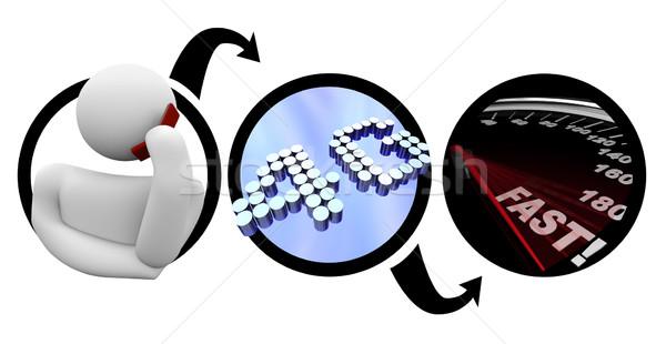 4g személy okostelefon gyors távközlés diagram Stock fotó © iqoncept