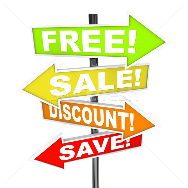 Stock photo: Arrow SIgns - Free Sale Discount Save Message from Retail Store