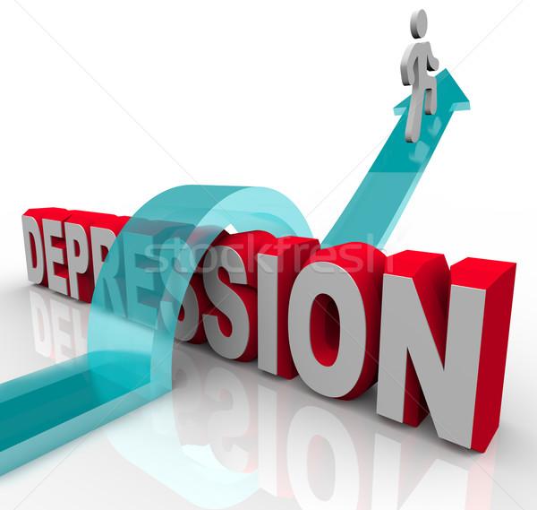 Foto stock: Depressão · saltando · palavra · pessoa · equitação · seta