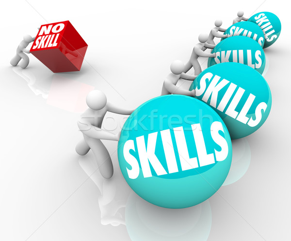 Skill vs No Skills Competition Unskilled and Skilled People Stock photo © iqoncept