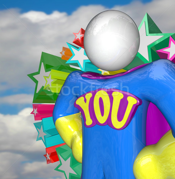 You are a Superhero Person in Costume and Cape Stock photo © iqoncept