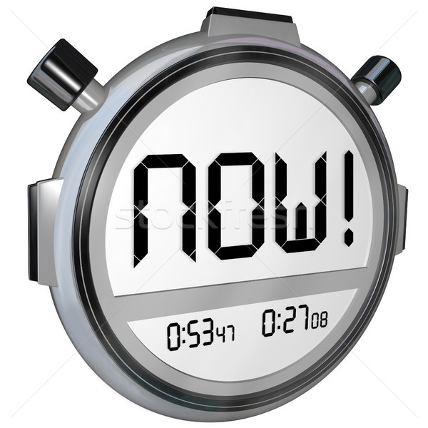 Now Word Stopwatch Timer Clock Stock photo © iqoncept