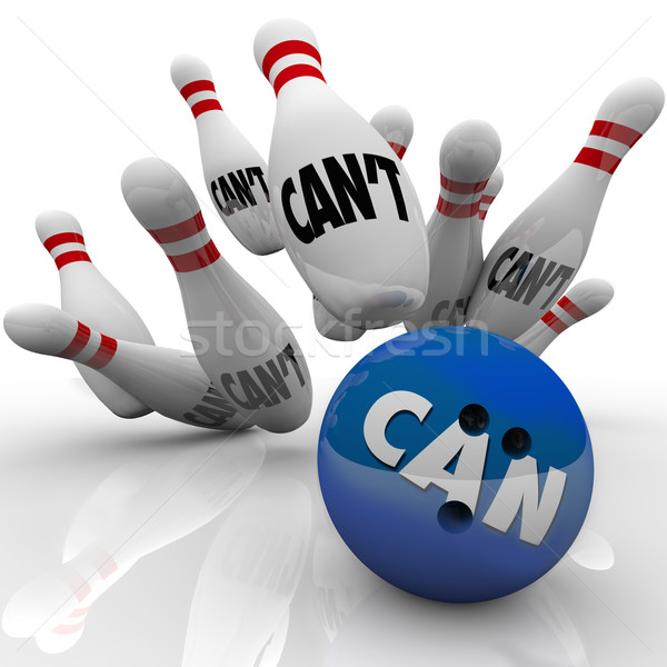 Can Vs Can't Bowling Balls Strike Overcoming Naysayers Stock photo © iqoncept