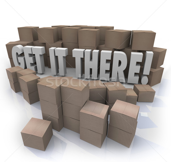 Get It There Shipping Cardboard Boxes Fast Shipment Stock photo © iqoncept