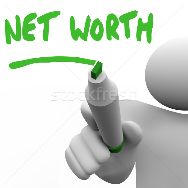 Net Worth Man Writing Words Figure Your Asset Total Value Stock photo © iqoncept