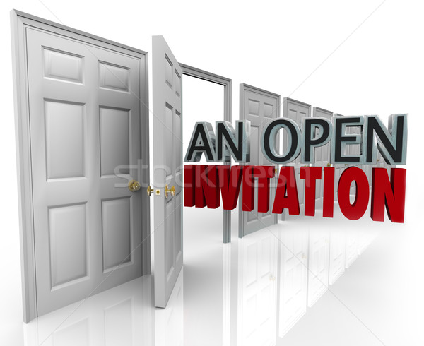 Açmak davetiye sözler iş kapı Stok fotoğraf © iqoncept