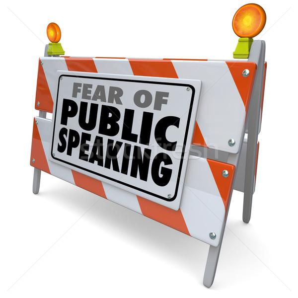 Angst openbare woorden barricaderen toespraak Stockfoto © iqoncept