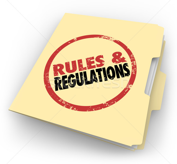 Rules Regulations Manila Folder Stamped Documents Files Stock photo © iqoncept