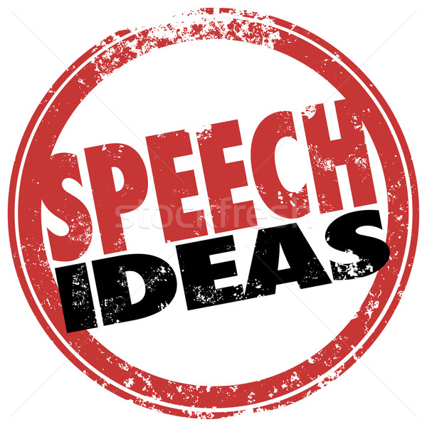 Speech Ideas Round Red Stamp Suggestions Advice Information Stock photo © iqoncept