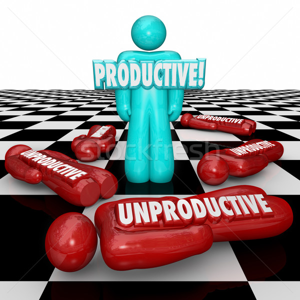 Productive Vs Unproductive Workers One Person Standing Most Effi Stock photo © iqoncept