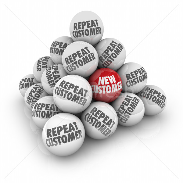 Repeat Customer New Client Advertising Marketing Ball Pyramid Stock photo © iqoncept