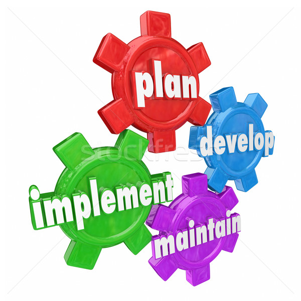 Plan Implement Develop Maintain Gears Organization Strategy Roll Stock photo © iqoncept