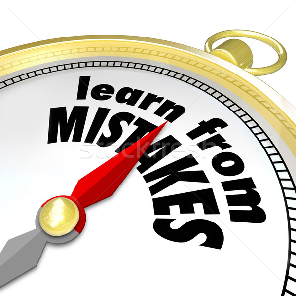 Learn From Mistakes Words Compass Experiment Success Failure Try Stock photo © iqoncept