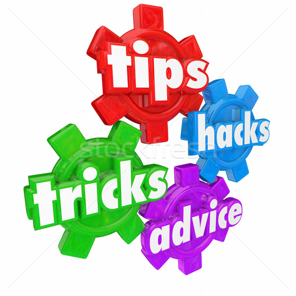 Tips Tricks Helps and Advice Gears Words Help Assistance How to  Stock photo © iqoncept