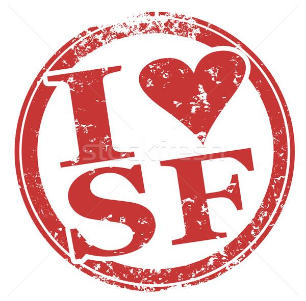 Amor San Francisco vermelho carimbo coração símbolo Foto stock © iqoncept