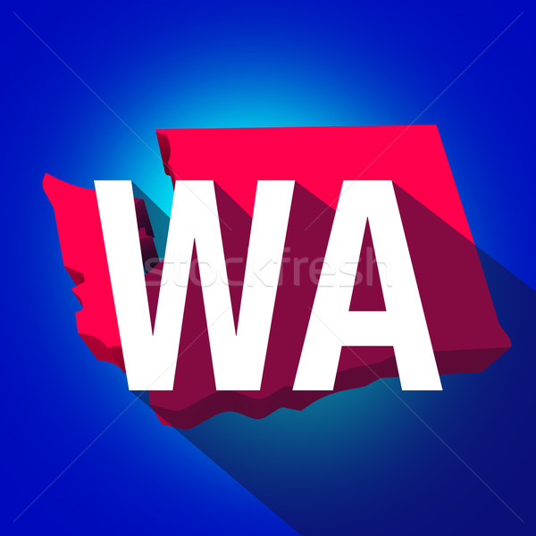 Washington WA Letters Abbreviation Red 3d State Map Long Shadow Stock photo © iqoncept