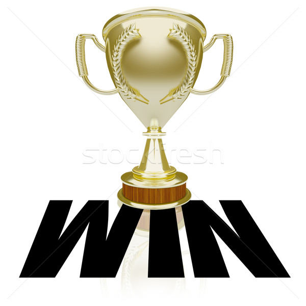 Win Gold Trophy Team Victory Competition Game Award Stock photo © iqoncept