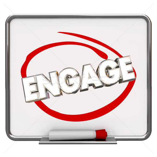 Engage Circled Dry Erase Board Marker Share Communicate Message  Stock photo © iqoncept