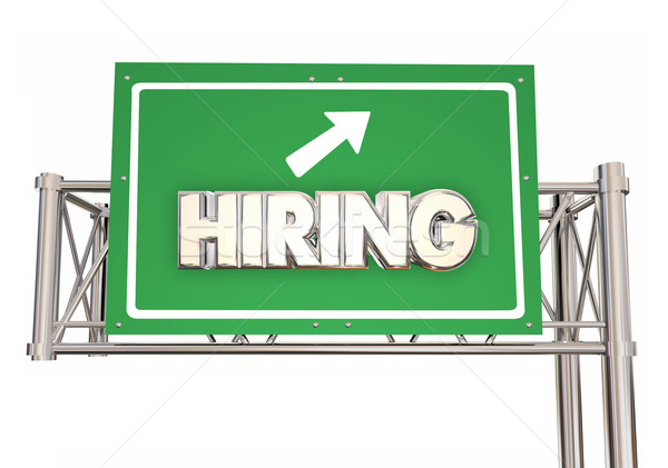 Hiring Freeway Green Sign New Jobs Ahead Help Wanted Word 3d Ill Stock photo © iqoncept