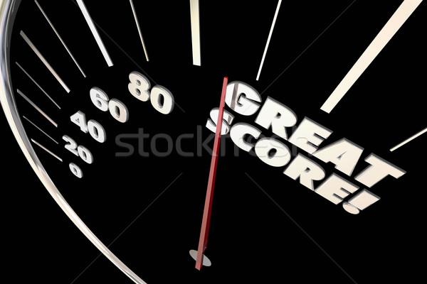 Great Score Finish Time Speedometer Words 3d Illustration Stock photo © iqoncept
