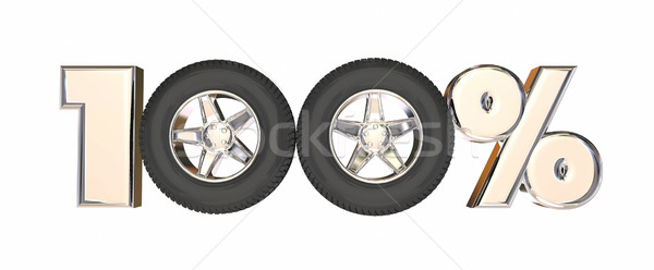 100 One Hundred Percent Number Car Wheels 3d Illustration Stock photo © iqoncept