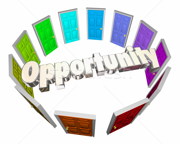 Opportunity Chance Success Choose Path Doors 3d Illustration Stock photo © iqoncept