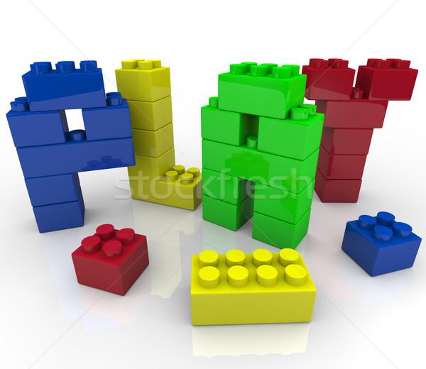 Játék kreatív tanul tömbházak szó játék Stock fotó © iqoncept