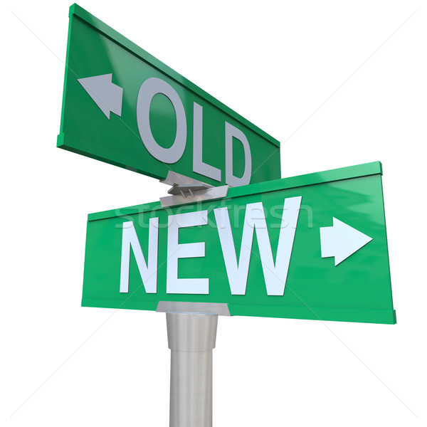Choose Old or New 2-Way Street Sign Pointing Arrows Stock photo © iqoncept