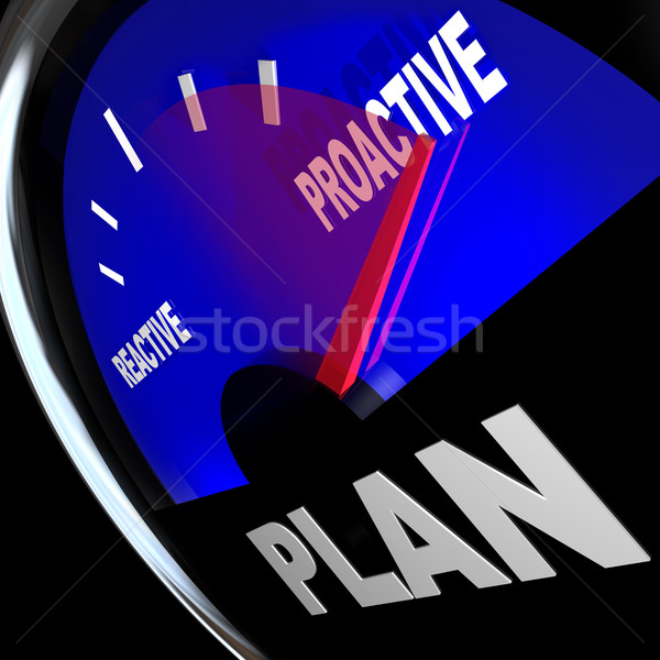 Plan Gauge Proactive vs Reactive Strategy for Success Stock photo © iqoncept