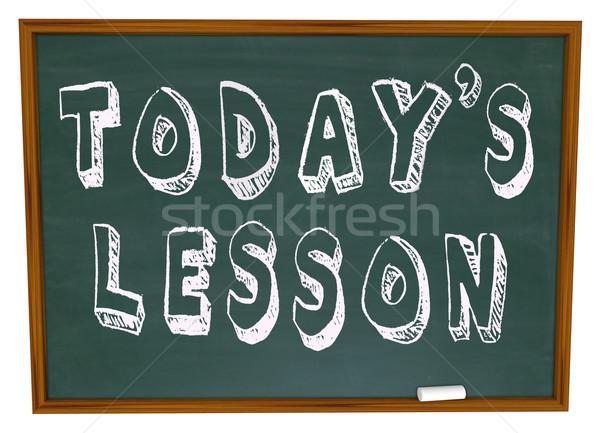 Ders sözler okul kara tahta eğitim önem Stok fotoğraf © iqoncept