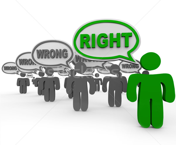 Right Vs Wrong One Person Has Correct Answer Many Incorrect Stock photo © iqoncept
