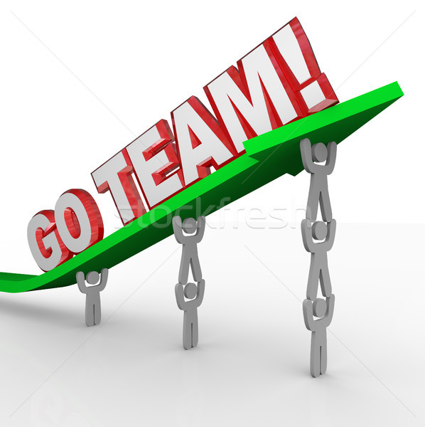 Go Team Cheerleading People Lift Words Stock photo © iqoncept