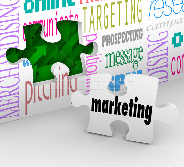 Marketing Wall Puzzle Piece Market Plan Strategy Stock photo © iqoncept
