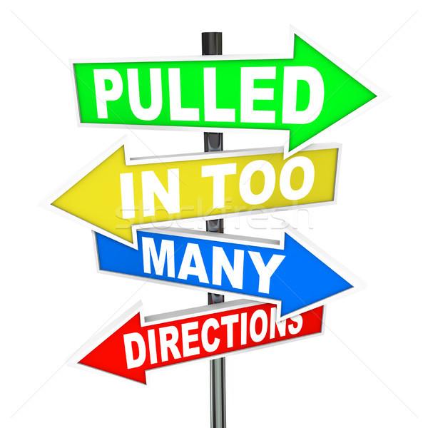 ストックフォト: 多くの · 方向 · 標識 · ストレス · 不安 · 単語