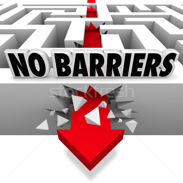 No Barriers Arrow Smashes Through Maze Walls Freedom Stock photo © iqoncept