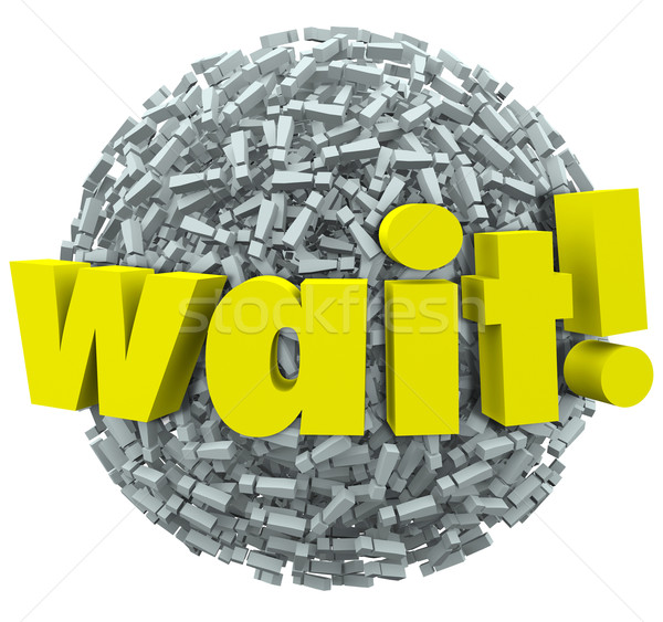 Wait Word Exclamation Point Mark Sphere Delay Stop Stock photo © iqoncept