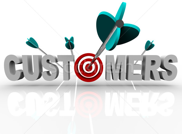 Customers - Target and Arrows Hit the Word Stock photo © iqoncept