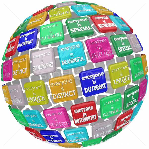 Everyone is Special Unique Different Extraordinary Globe Sphere Stock photo © iqoncept